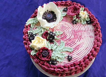 Vanilla Cake with Black Raspberry Frosting and Basil Lime Filling